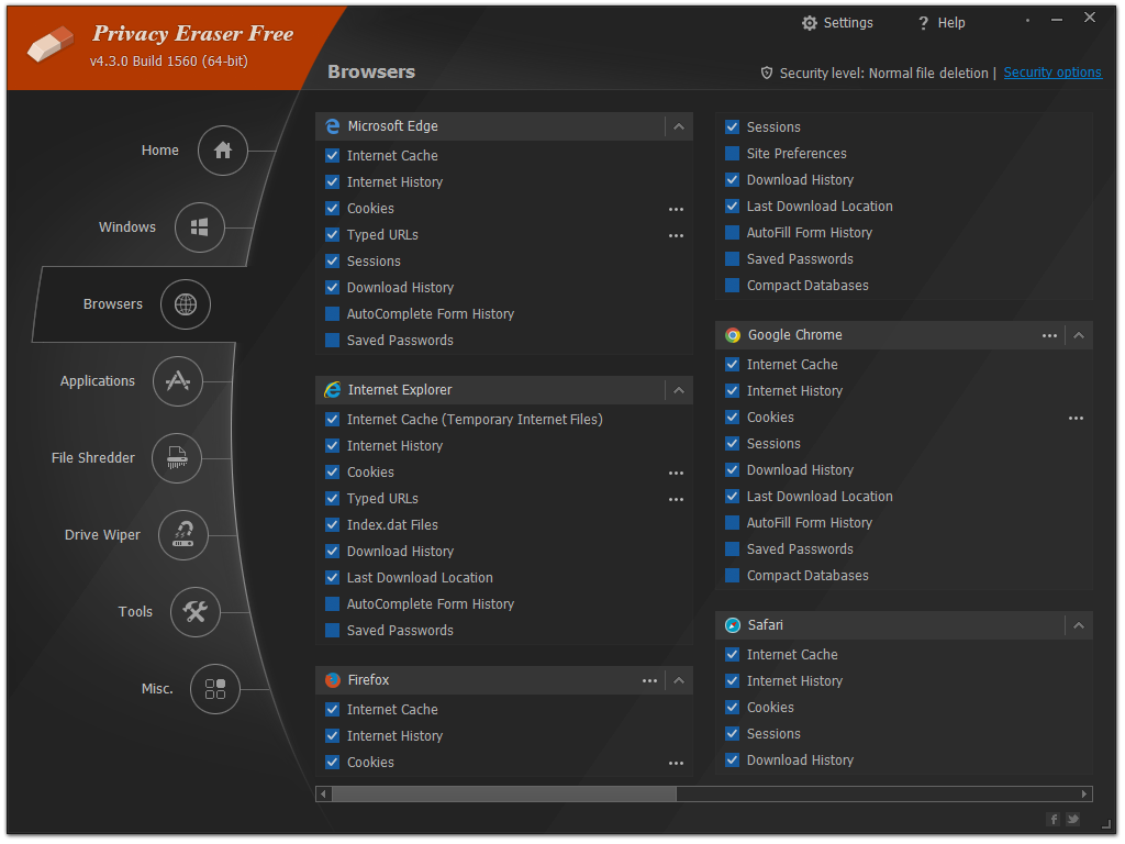 Privacy Eraser: 1-click browsing history deletion, PC optimization